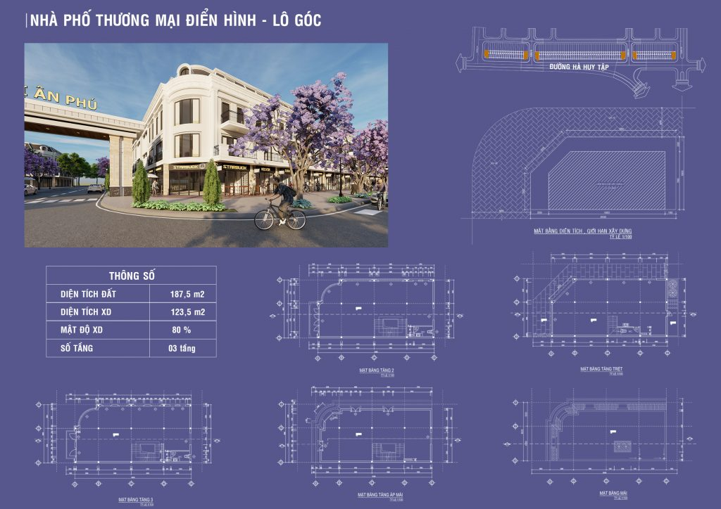 Thiết kế lô góc dự án khu đô thị Ân Phú tại đường Hà Huy Tập Buôn Ma Thuột